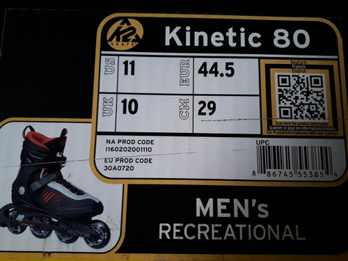 rollers k2 nuevos hombre t 44,5 c/caja y garantia 1 año