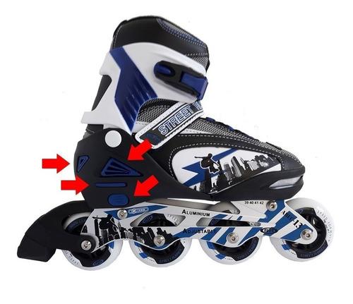 rollers patin extensible abec 13 aluminio 30200 profesional.
