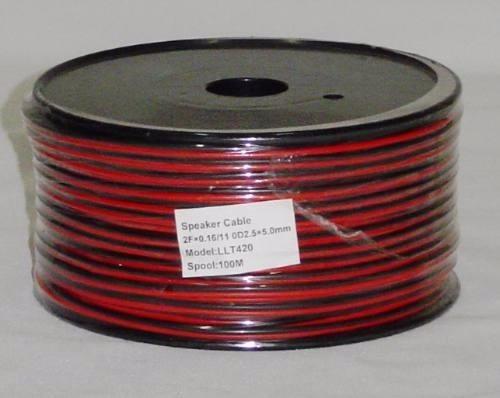 rollo cable de parlante no16 100 metros rojo negro gemelo