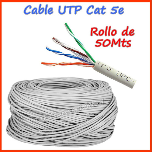 rollo cable de red utp cat5e categoria 5e 50 metros