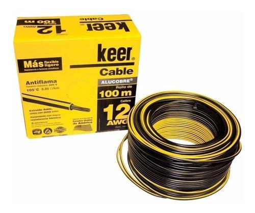 rollo de cable 100 metros thw calibre 12 awg negro