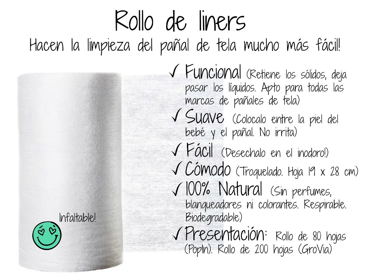 Rollo De Liners Biodegradables Desechables 80 Hojas - Pañal - $ 413 ...
