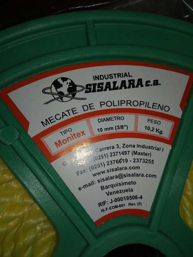 rollo de mecate soga 1/2, 9/16 monitex, sisalara en 60c/royo