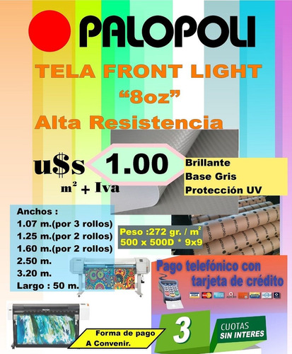 rollo tela translucida back light 14 oz microtrama 1.40x50m