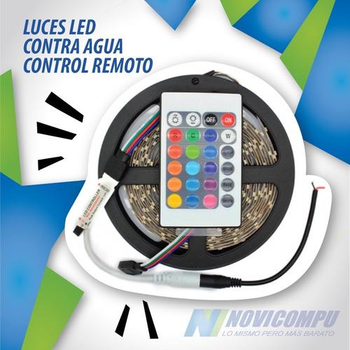 rollo tira 300 luces led contra agua 5m colores control remo
