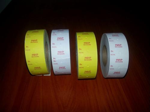 rollos de etiquetas pmvp towa y sato. maquinas etiquetadoras