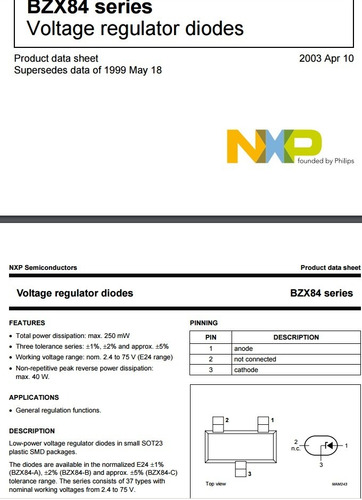 rolo bzx84c18v diodo zener sot23 18v j 5% smd nxp bzx84 18v