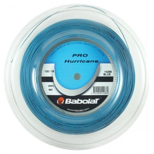 rolo de corda babolat pro hurricane 200m 1.30mm azul