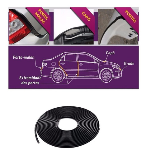 rolo de friso protetor de bordas porta e porta mala preto
