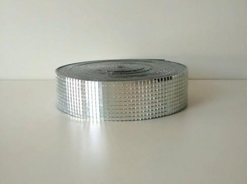 rolo fita espelhada prata quadriculada 0.4x0.4 - 10m/4cm