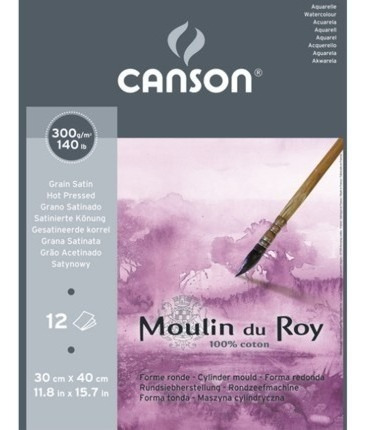 rolo papel aquarel moulin du roy algoda canson 1,3x9 tf 300g