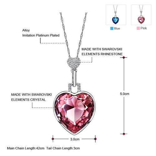 romantico collar corazón element swarovski, accesorios mujer