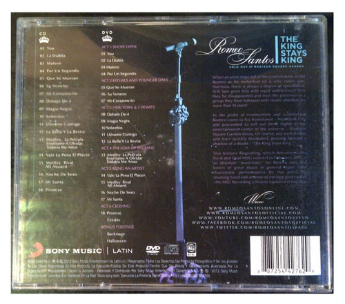 romeo santos - the king stays king - (cd & dvd) - original