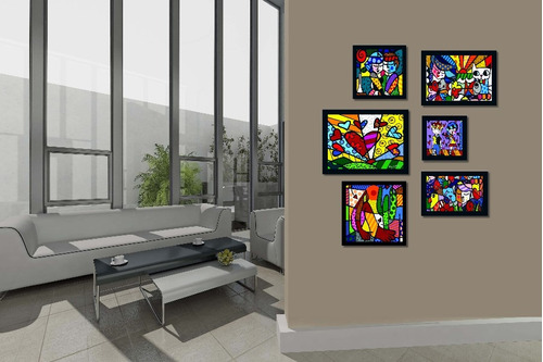 romero brito coleção 6 quadros os mais famosos salas quartos
