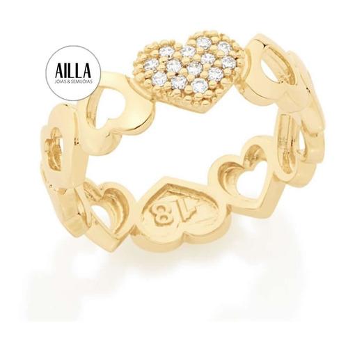 rommanel anel corações cravejados folheado ouro 18 k 512334