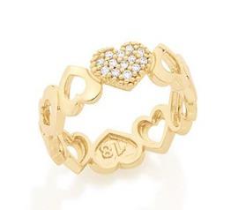 rommanel anel corações cravejados folheado ouro. 512334