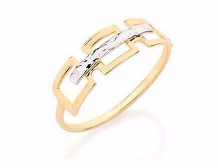 rommanel anel quadrados vazados folheado ouro aliança 51000