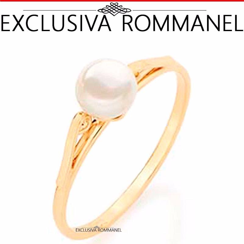 752171ed1de60 rommanel anel solitário com pérola 6mm folh ouro 510171. Carregando zoom.