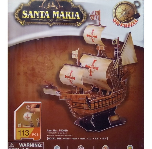 rompecabezas 3d cubicfun carabela santa maria  (serie t)