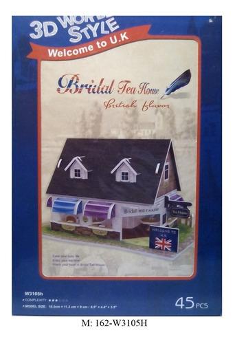 rompecabezas 3d cubicfun casa típica de thé británica
