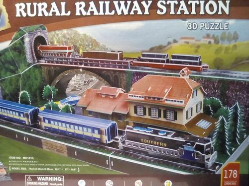 rompecabezas 3d cubicfun  estación rural de tren alemana