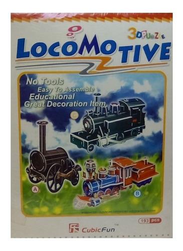 rompecabezas 3d cubicfun locomotoras antiguas (serie c)