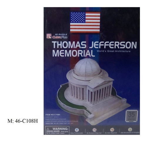 rompecabezas 3d cubicfun monumento a t.jefferson washington