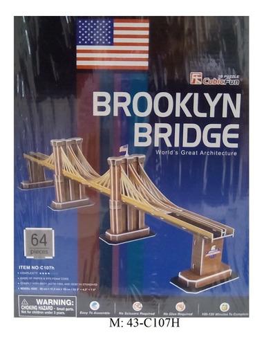 rompecabezas 3d cubicfun puente brooklyn new york (serie c)