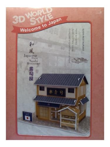 rompecabezas 3d cubicfun restaurante de sushi japonés w3104