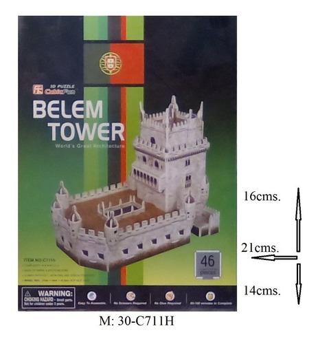 rompecabezas 3d cubicfun torre belem en portugal (serie c)