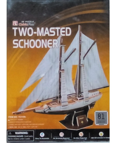 rompecabezas 3d cubicfun two masted scooner (goleta de dos m
