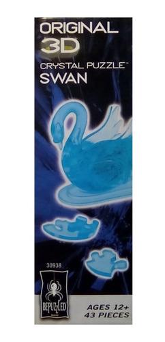 rompecabezas 3d de acrilico transparente cisne azul
