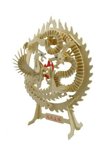rompecabezas 3d dragon y fenix chino maqueta para armar