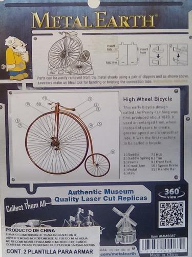rompecabezas 3d metal fascinations bicicleta rueda alta