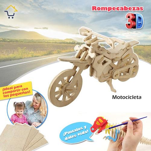 rompecabezas 3d realistas puzzle 3d madera niños ref: moto