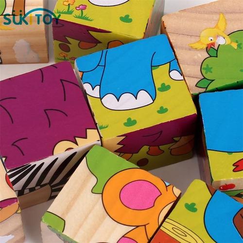 rompecabezas 6 en 1 juguete didáctico cubos en madera