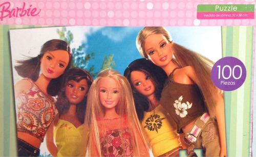 rompecabezas  de 100 piezas  barbie de toyco de 32x 38 cms