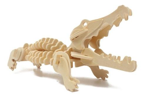 rompecabezas de madera 3d modelo cocodrilo