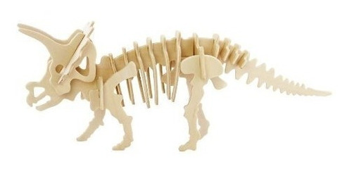 rompecabezas de madera 3d modelo dinosaurio triceratops