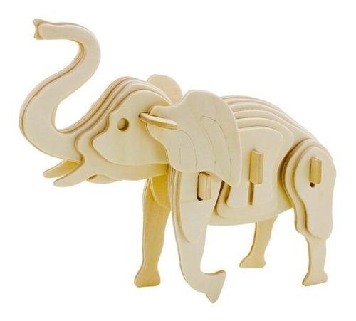rompecabezas de madera 3d modelo elefante