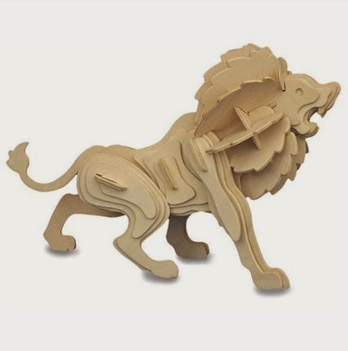 rompecabezas de madera 3d modelo leon
