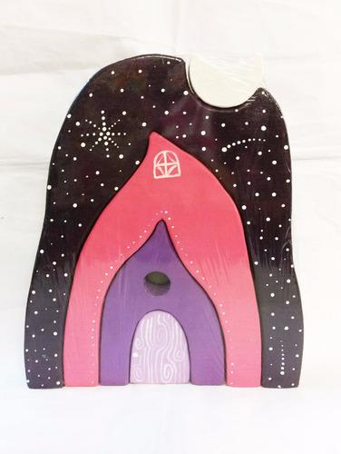 rompecabezas de madera artesanal casa lunar 5 piezas waldorf