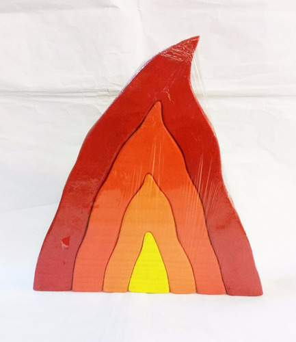 rompecabezas de madera artesanal fuego 4 piezas waldorf mont