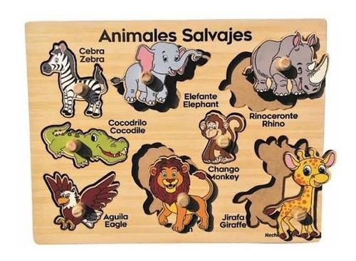rompecabezas de madera con botón animales salvajes 8 pzs