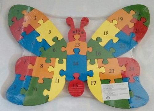 rompecabezas de madera mariposa letras y números entrega ya!