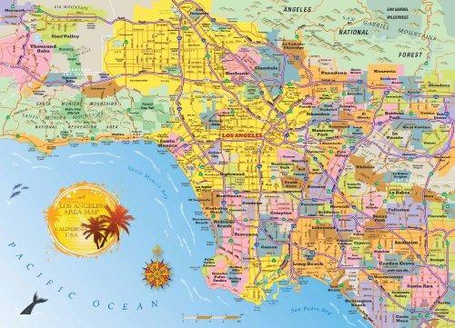 rompecabezas del mapa de la zona de los angeles - 1000 pieza