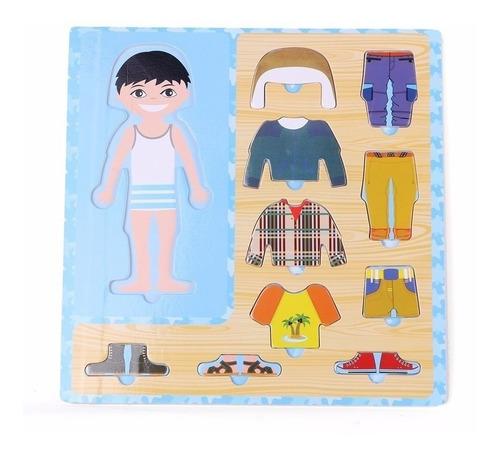 rompecabezas didactico de madera cambio de ropa infantil