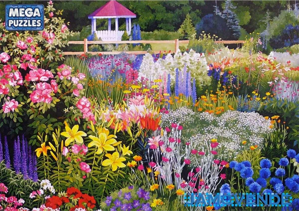 Rompecabezas jard n flores silvestres paisaje dibujo for Dibujos de jardines