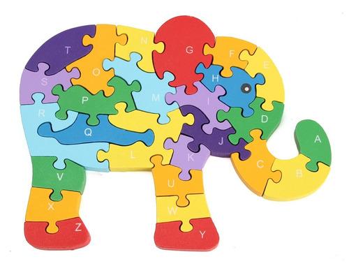 rompecabezas madera didáctico letras números animales jirafa