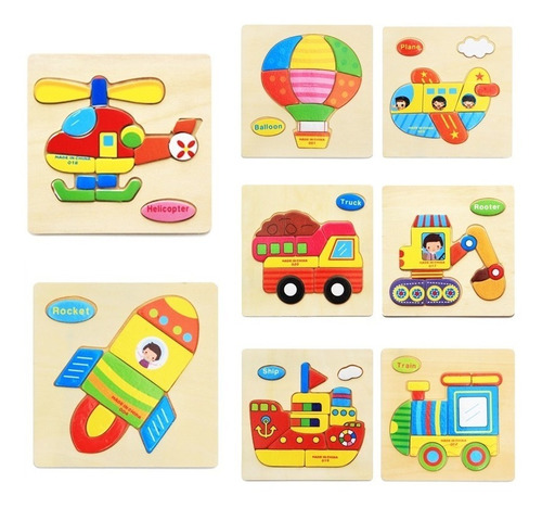rompecabezas madera pack x8 juguetes didactico jugueteria